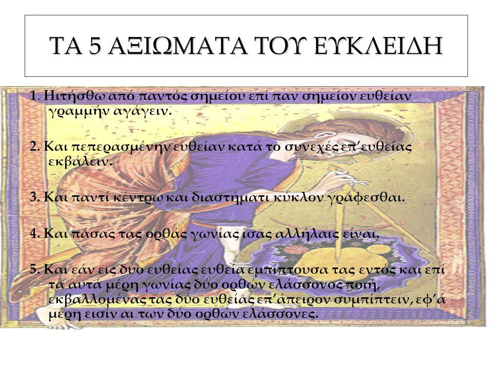 ΟΡΙΣΜΟΙ ΕΥΘΕΙΑ ΕΥΘΕΙΑ := η γραμμή ελαχίστου μήκους που συνδέει δύο σημεία του επιπέδου ΓΕΩΔΑΙΣΙΑΚΗ ΓΡΑΜΜΗ ΓΕΩΔΑΙΣΙΑΚΗ ΓΡΑΜΜΗ := η γραμμή επάνω σε οποιαδήποτε επιφάνεια που ενώνει δύο σημεία της και έχει το ελάχιστο δυνατόν μήκος π.χ.