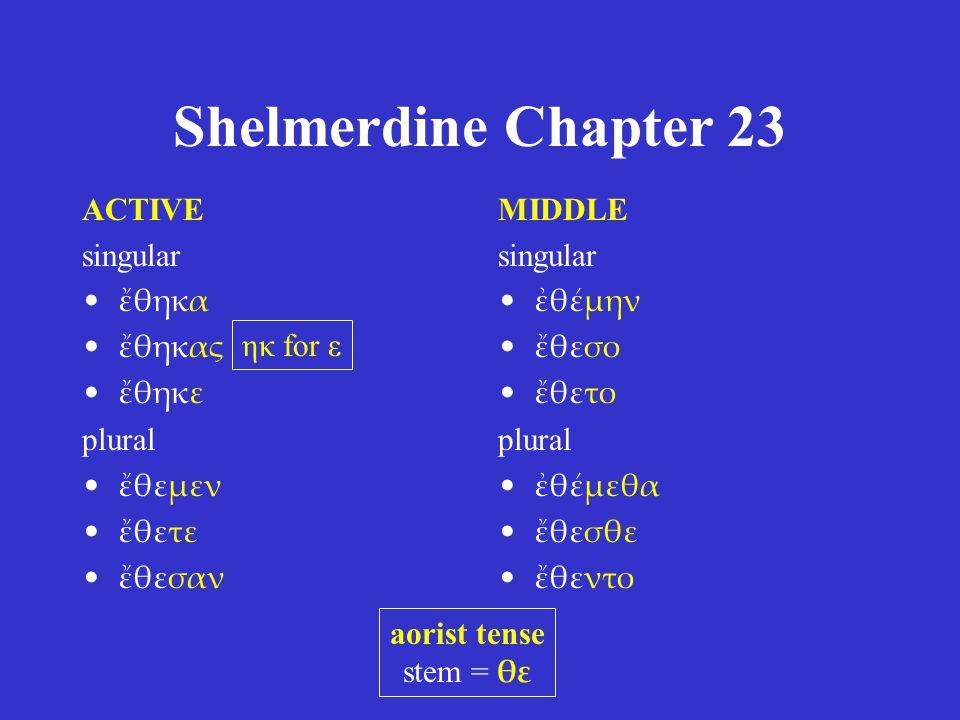 Shelmerdine Chapter 23 ACTIVE singular ἔθηκα ἔθηκας ἔθηκε plural ἔθεμεν ἔθετε ἔθεσαν MIDDLE singular ἐθέμην ἔθεσο ἔθετο plural ἐθέμεθα ἔθεσθε ἔθεντο a