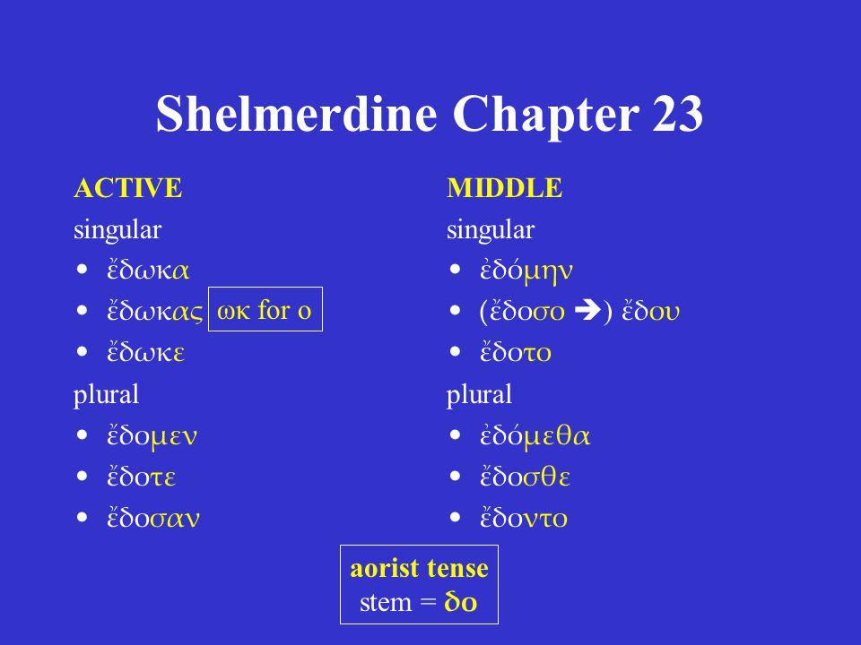 Shelmerdine Chapter 23 ACTIVE singular ἔδωκα ἔδωκας ἔδωκε plural ἔδομεν ἔδοτε ἔδοσαν MIDDLE singular ἐδόμην (ἔδοσο  ) ἔδου ἔδοτο plural ἐδόμεθα ἔδοσθ