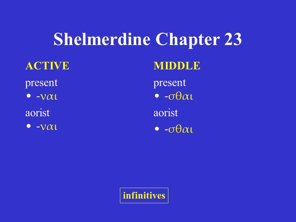 Shelmerdine Chapter 23 ACTIVE present -ναι aorist -ναι MIDDLE present -σθαι aorist -σθαι infinitives