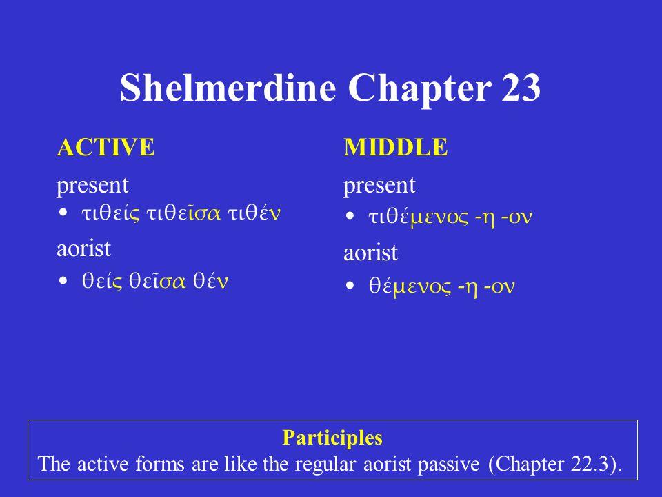 Shelmerdine Chapter 23 ACTIVE present τιθείς τιθεῖσα τιθέν aorist θείς θεῖσα θέν MIDDLE present τιθέμενος -η -ον aorist θέμενος -η -ον Participles The