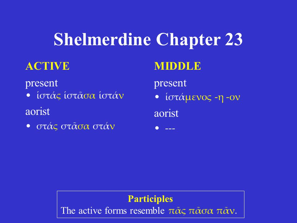 Shelmerdine Chapter 23 ACTIVE present ἱστάς ἱστᾶσα ἱστάν aorist στάς στᾶσα στάν MIDDLE present ἱστάμενος -η -ον aorist --- Participles The active form