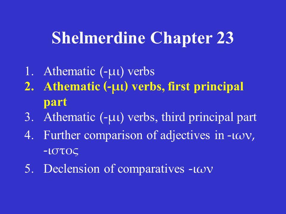 Shelmerdine Chapter 23 ACTIVE present διδόναι aorist δοῦναι MIDDLE present διδόσθαι aorist δόσθαι infinitives
