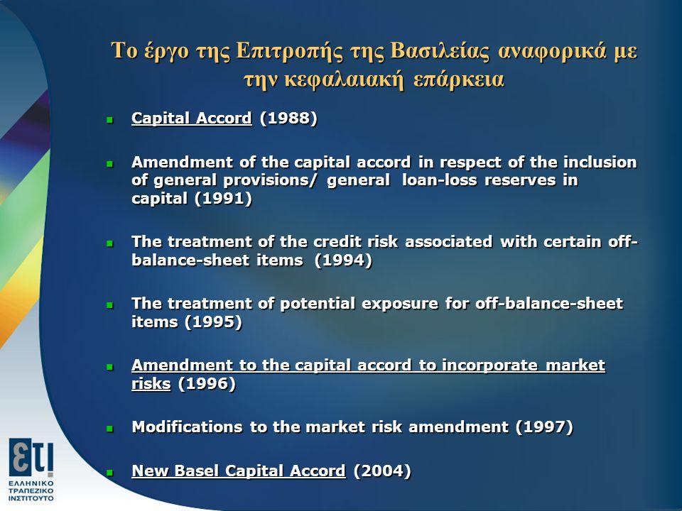 Το έργο της Επιτροπής της Βασιλείας αναφορικά με την κεφαλαιακή επάρκεια Capital Accord (1988) Capital Accord (1988) Amendment of the capital accord i