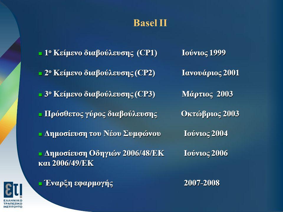 Basel II 1 ο Κείμενο διαβούλευσης (CP1) Ιούνιος 1999 1 ο Κείμενο διαβούλευσης (CP1) Ιούνιος 1999 2 ο Κείμενο διαβούλευσης (CP2) Ιανουάριος 2001 2 ο Κε