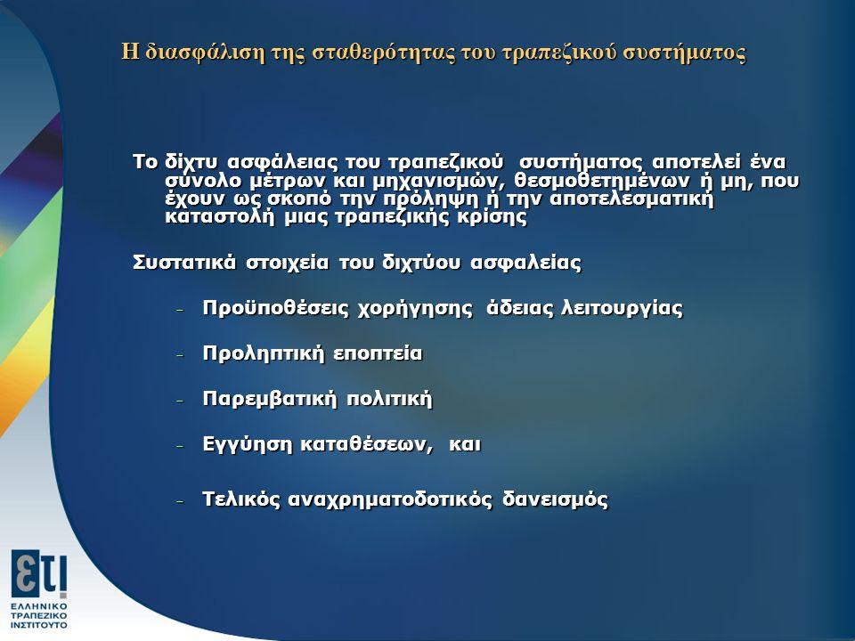 Η διασφάλιση της σταθερότητας του τραπεζικού συστήματος Το δίχτυ ασφάλειας του τραπεζικού συστήματος αποτελεί ένα σύνολο μέτρων και μηχανισμών, θεσμοθ