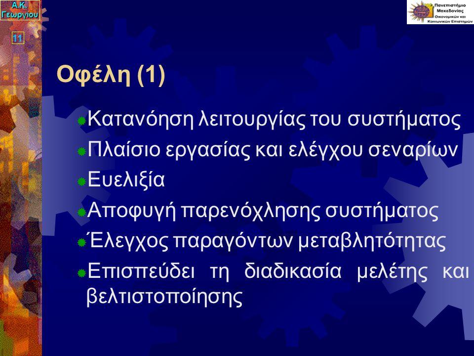 Α.Κ. Γεωργίου 11 Οφέλη (1)  Κατανόηση λειτουργίας του συστήματος  Πλαίσιο εργασίας και ελέγχου σεναρίων  Ευελιξία  Αποφυγή παρενόχλησης συστήματος