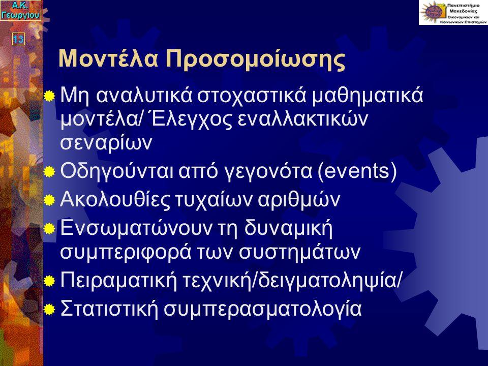 Α.Κ. Γεωργίου 13 Μοντέλα Προσομοίωσης  Μη αναλυτικά στοχαστικά μαθηματικά μοντέλα/ Έλεγχος εναλλακτικών σεναρίων  Οδηγούνται από γεγονότα (events) 