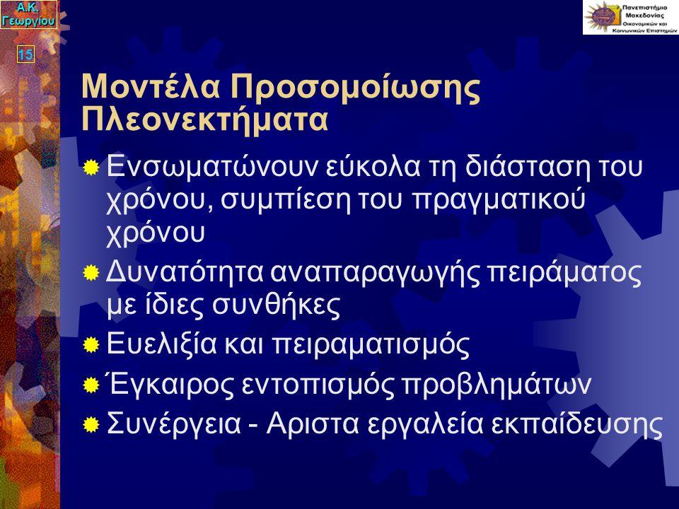 Α.Κ. Γεωργίου 15 Μοντέλα Προσομοίωσης Πλεονεκτήματα  Ενσωματώνουν εύκολα τη διάσταση του χρόνου, συμπίεση του πραγματικού χρόνου  Δυνατότητα αναπαρα
