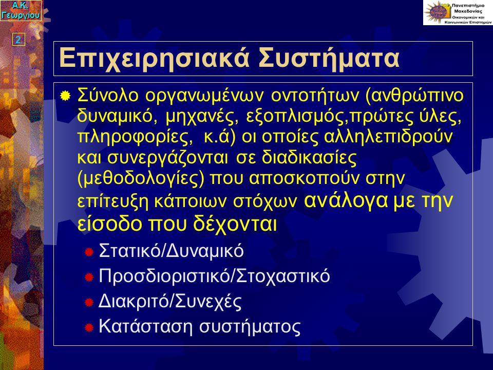 Α.Κ. Γεωργίου 2 Επιχειρησιακά Συστήματα  Σύνολο οργανωμένων οντοτήτων (ανθρώπινο δυναμικό, μηχανές, εξοπλισμός,πρώτες ύλες, πληροφορίες, κ.ά) οι οποί