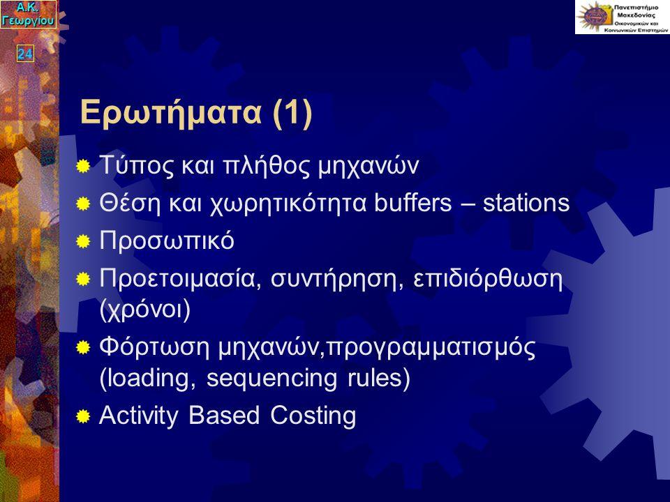 Α.Κ. Γεωργίου 24 Ερωτήματα (1)  Τύπος και πλήθος μηχανών  Θέση και χωρητικότητα buffers – stations  Προσωπικό  Προετοιμασία, συντήρηση, επιδιόρθωσ