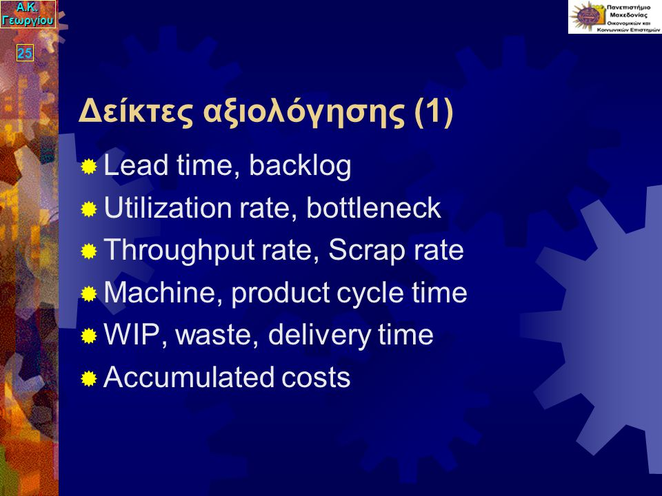 Α.Κ. Γεωργίου 25 Δείκτες αξιολόγησης (1)  Lead time, backlog  Utilization rate, bottleneck  Throughput rate, Scrap rate  Machine, product cycle ti