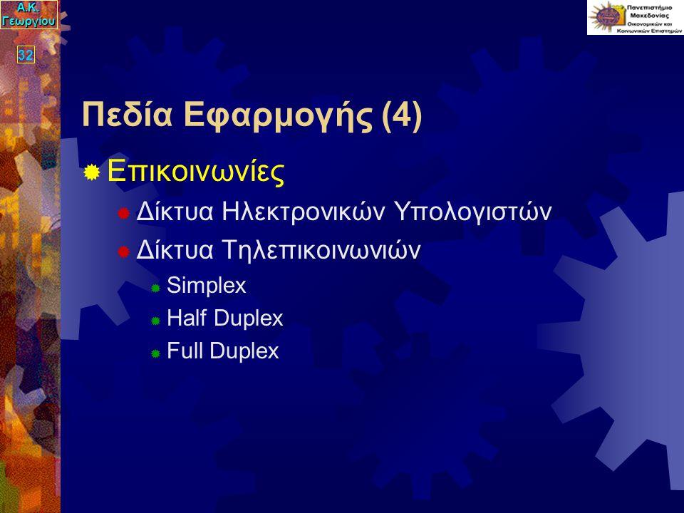 Α.Κ. Γεωργίου 32 Πεδία Εφαρμογής (4)  Επικοινωνίες  Δίκτυα Ηλεκτρονικών Υπολογιστών  Δίκτυα Τηλεπικοινωνιών  Simplex  Half Duplex  Full Duplex