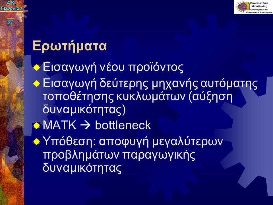 Α.Κ. Γεωργίου 37 Ερωτήματα  Εισαγωγή νέου προϊόντος  Εισαγωγή δεύτερης μηχανής αυτόματης τοποθέτησης κυκλωμάτων (αύξηση δυναμικότητας)  ΜΑΤΚ  bott