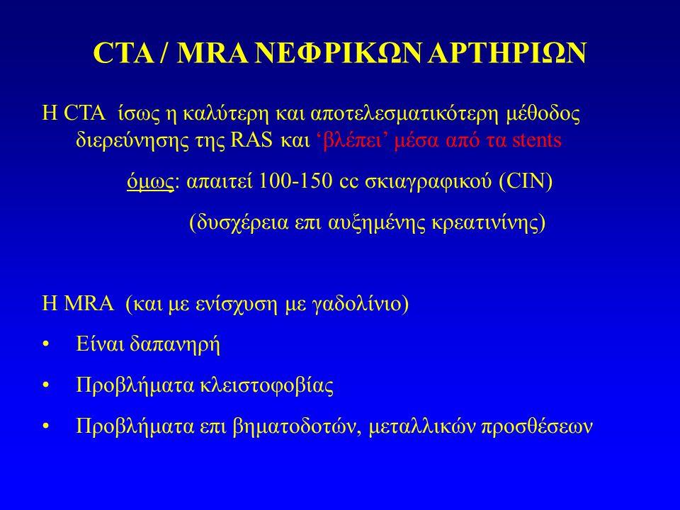 CTA / MRA ΝΕΦΡΙΚΩΝ ΑΡΤΗΡΙΩΝ Η CTA ίσως η καλύτερη και αποτελεσματικότερη μέθοδος διερεύνησης της RAS και 'βλέπει' μέσα από τα stents όμως: απαιτεί 100