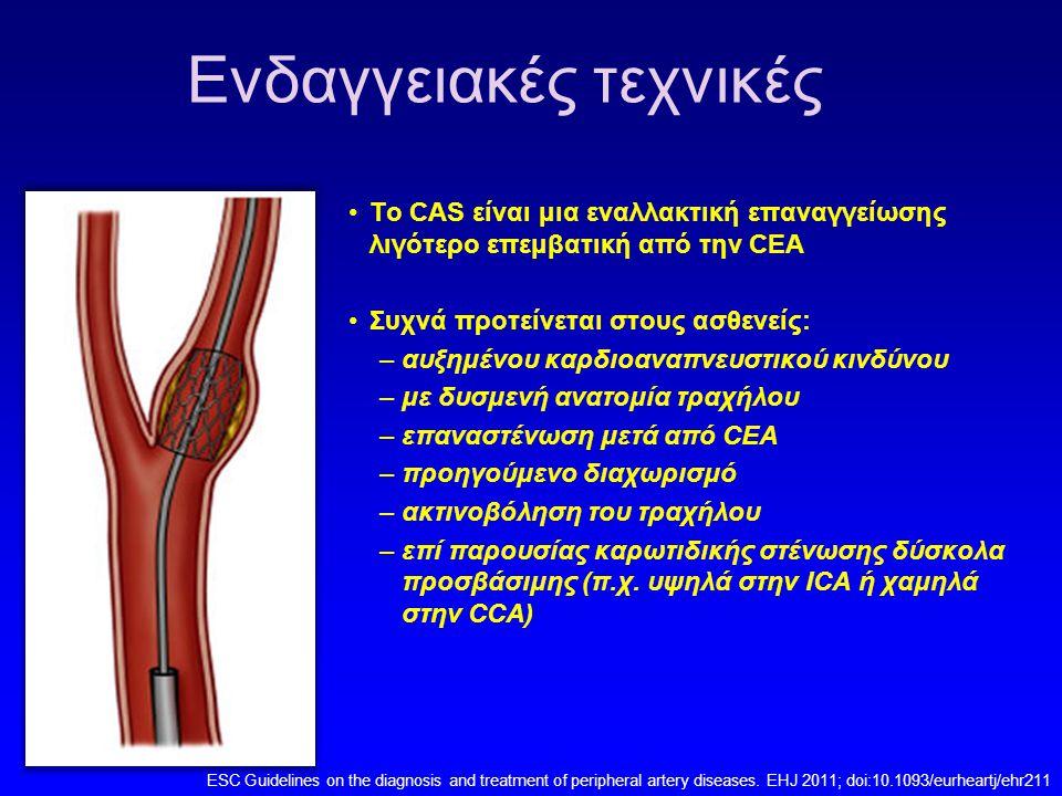 Diffusion-weighted MRI (DWI) Τα μη αναπηρικά (ελάσσονα) περιεπεμβατικά ΑΕΕ φαίνεται ότι έχουν σημαντική δυσμενή επίδραση στην μετέπειτα ποιότητα ζωής σε ασθενείς με ασυμπτωματική νόσο Νέες υπόπυκνες βλάβες > 0.5 cm3 ομόπλευρα της βλάβης 9% μετά από CEA 43% μετά CAS Μη αντιληπτά κλινικά νευρολογικά ελείμματα