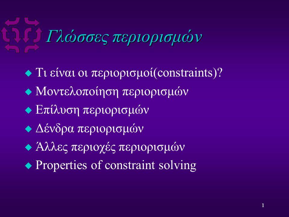 1 Γλώσσες περιορισμών u Τι είναι οι περιορισμοί(constraints).