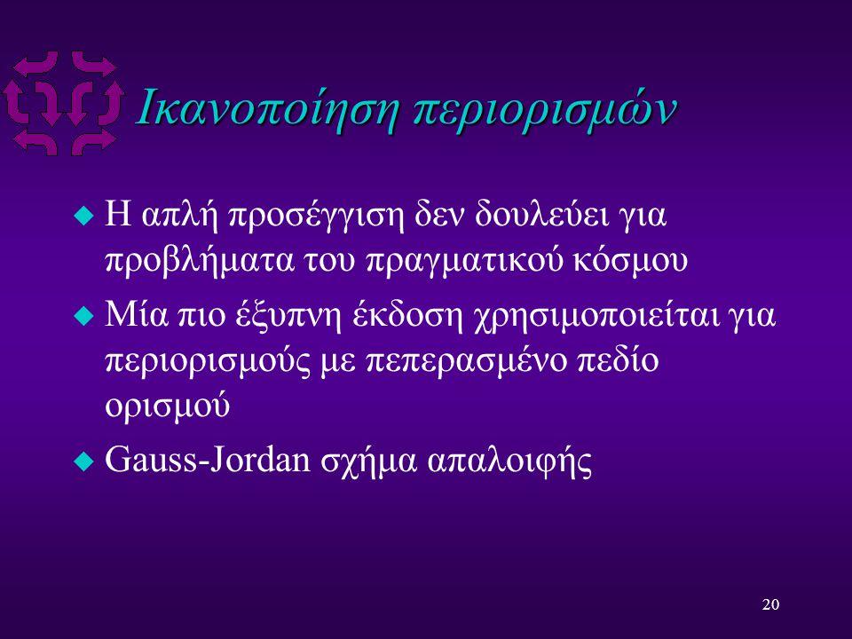 20 Ικανοποίηση περιορισμών u Η απλή προσέγγιση δεν δουλεύει για προβλήματα του πραγματικού κόσμου u Μία πιο έξυπνη έκδοση χρησιμοποιείται για περιορισμούς με πεπερασμένο πεδίο ορισμού u Gauss-Jordan σχήμα απαλοιφής