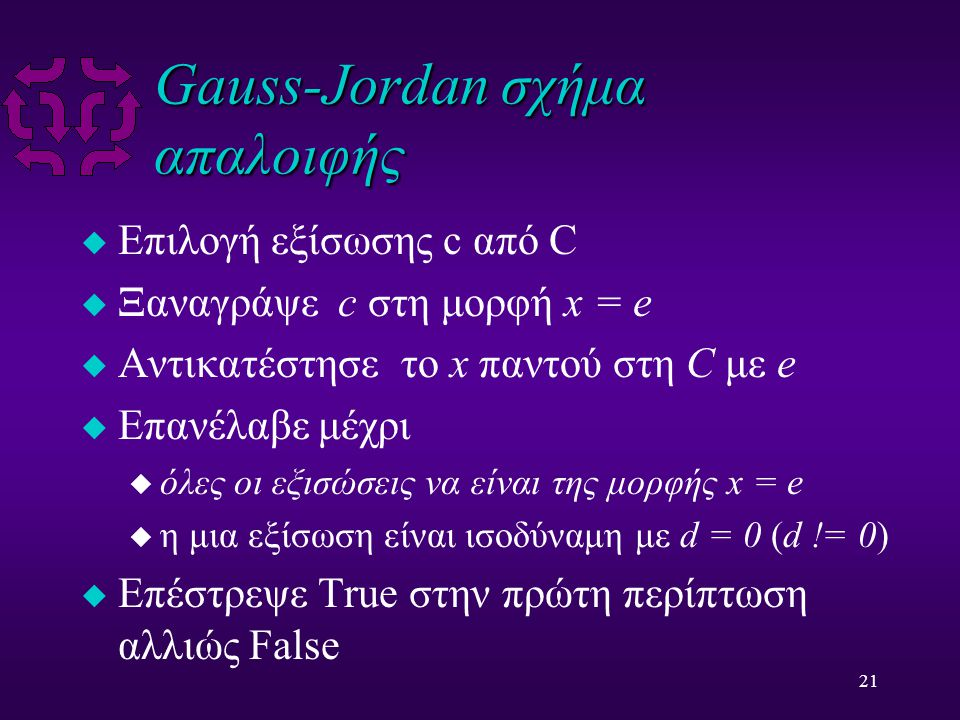 21 Gauss-Jordan σχήμα απαλοιφής u Επιλογή εξίσωσης c από C u Ξαναγράψε c στη μορφή x = e u Αντικατέστησε το x παντού στη C με e u Επανέλαβε μέχρι u όλες οι εξισώσεις να είναι της μορφής x = e u η μια εξίσωση είναι ισοδύναμη με d = 0 (d != 0) u Επέστρεψε True στην πρώτη περίπτωση αλλιώς False