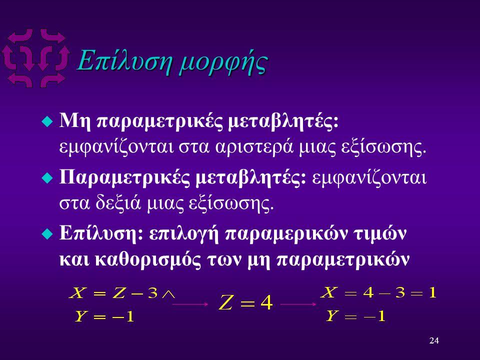 24 Επίλυση μορφής u Μη παραμετρικές μεταβλητές: εμφανίζονται στα αριστερά μιας εξίσωσης.