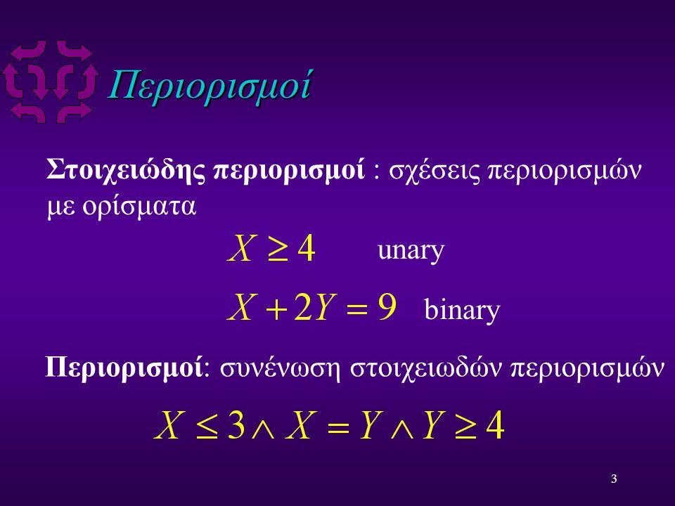 3 Περιορισμοί Στοιχειώδης περιορισμοί : σχέσεις περιορισμών με ορίσματα Περιορισμοί: συνένωση στοιχειωδών περιορισμών unary binary
