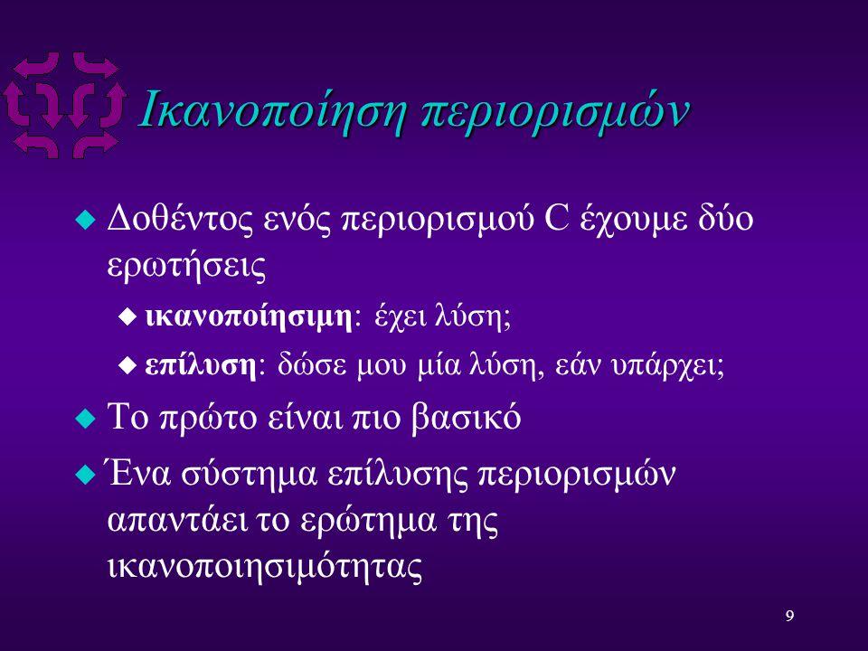9 Ικανοποίηση περιορισμών u Δοθέντος ενός περιορισμού C έχουμε δύο ερωτήσεις u ικανοποίησιμη: έχει λύση; u επίλυση: δώσε μου μία λύση, εάν υπάρχει; u Το πρώτο είναι πιο βασικό u Ένα σύστημα επίλυσης περιορισμών απαντάει το ερώτημα της ικανοποιησιμότητας