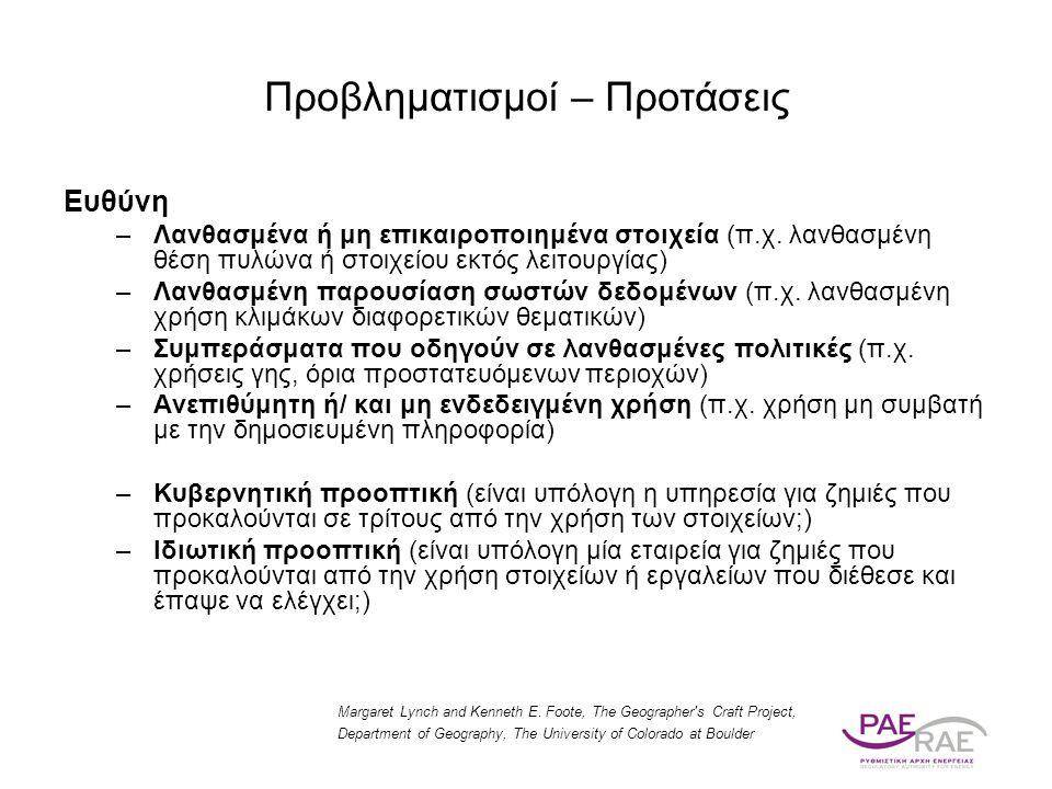 Ευθύνη –Λανθασμένα ή μη επικαιροποιημένα στοιχεία (π.χ. λανθασμένη θέση πυλώνα ή στοιχείου εκτός λειτουργίας) –Λανθασμένη παρουσίαση σωστών δεδομένων
