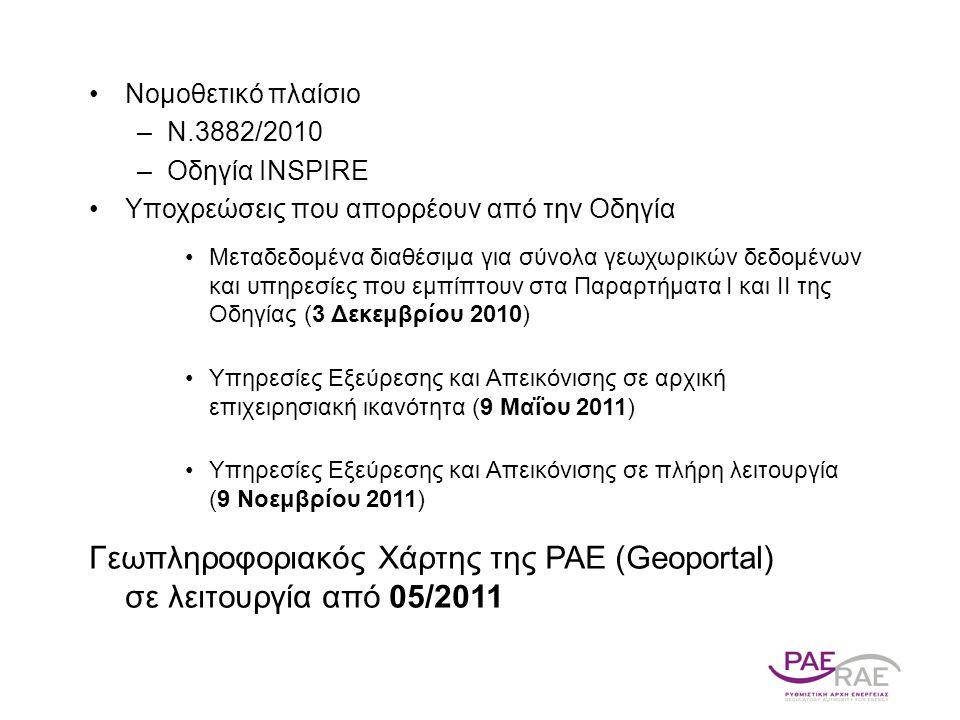 Νομοθετικό πλαίσιο –Ν.3882/2010 –Οδηγία INSPIRE Υποχρεώσεις που απορρέουν από την Οδηγία Μεταδεδομένα διαθέσιμα για σύνολα γεωχωρικών δεδομένων και υπηρεσίες που εμπίπτουν στα Παραρτήματα Ι και ΙΙ της Οδηγίας (3 Δεκεμβρίου 2010) Υπηρεσίες Εξεύρεσης και Απεικόνισης σε αρχική επιχειρησιακή ικανότητα (9 Μαΐου 2011) Υπηρεσίες Εξεύρεσης και Απεικόνισης σε πλήρη λειτουργία (9 Νοεμβρίου 2011) Γεωπληροφοριακός Χάρτης της ΡΑΕ (Geoportal) σε λειτουργία από 05/2011