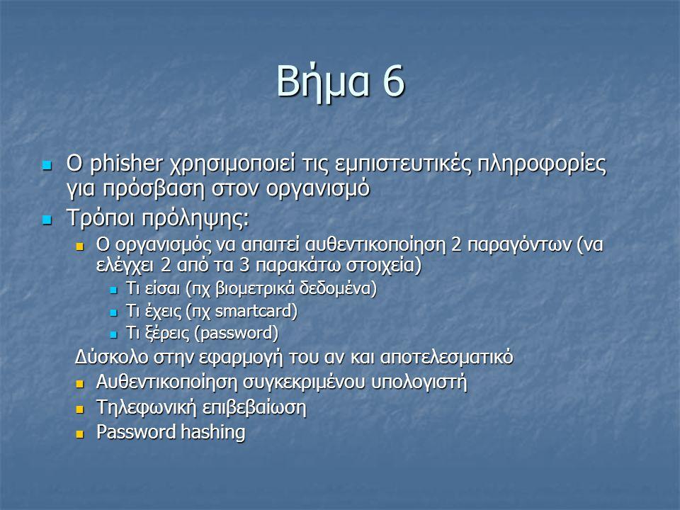 Βήμα 6 Ο phisher χρησιμοποιεί τις εμπιστευτικές πληροφορίες για πρόσβαση στον οργανισμό Ο phisher χρησιμοποιεί τις εμπιστευτικές πληροφορίες για πρόσβ