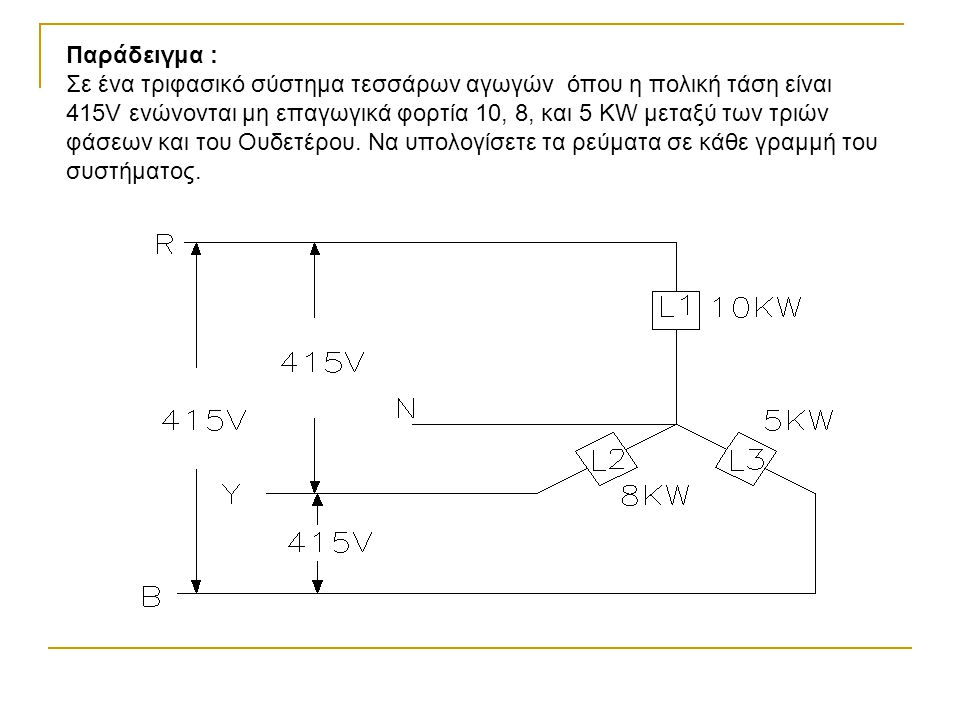 V L = 415V, L 1 = 10 KW, L 2 = 8KW, L 3 = 5KW, I R =?, Ι Y =?, Ι B =?, Ι N =.