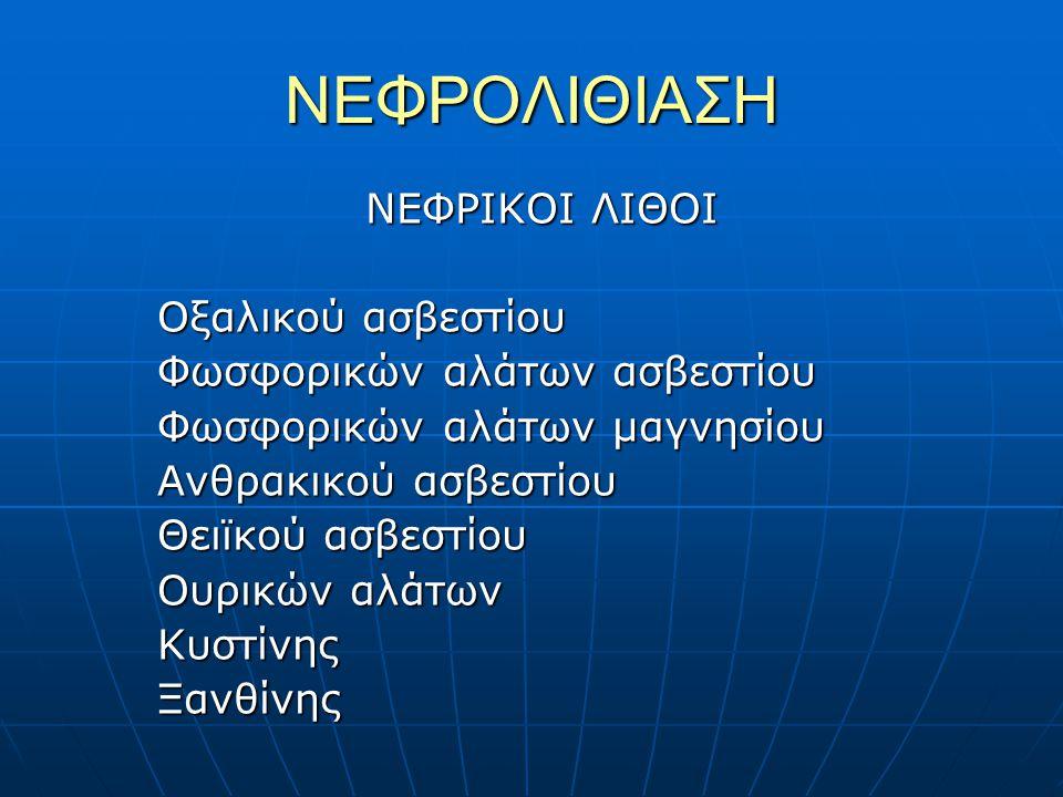 ΚΛΙΝΙΚΗ ΕΙΚΟΝΑ Ασυμπτωματική (τυχαίο εύρημα) Ασυμπτωματική (τυχαίο εύρημα) Αιματουρία Αιματουρία Κωλικός Νεφρού Κωλικός Νεφρού Πυελονεφρίτις Πυελονεφρίτις Νεφρική Ανεπάρκεια Νεφρική Ανεπάρκεια