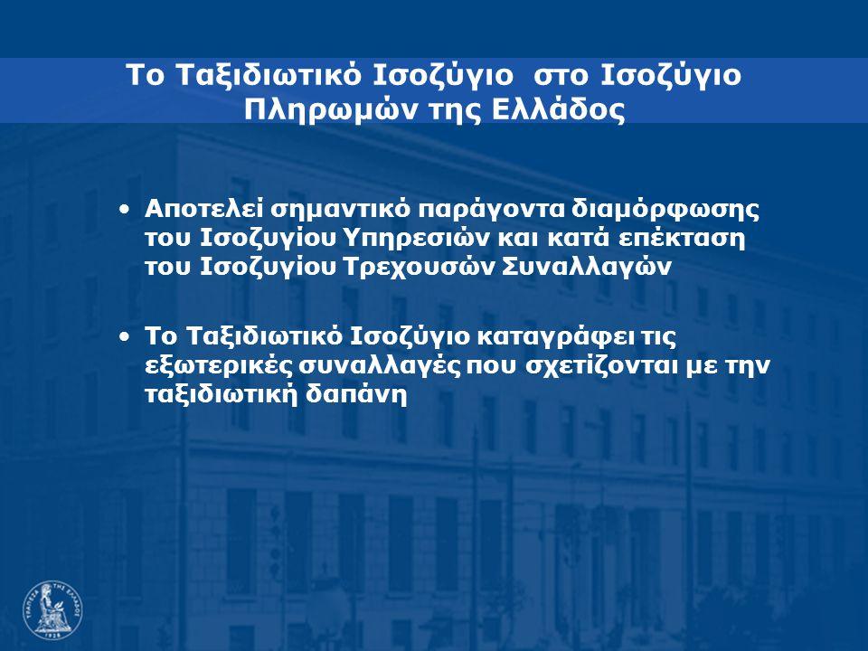 Το Ταξιδιωτικό Ισοζύγιο στο Ισοζύγιο Πληρωμών της Ελλάδος Αποτελεί σημαντικό παράγοντα διαμόρφωσης του Ισοζυγίου Υπηρεσιών και κατά επέκταση του Ισοζυγίου Τρεχουσών Συναλλαγών Το Ταξιδιωτικό Ισοζύγιο καταγράφει τις εξωτερικές συναλλαγές που σχετίζονται με την ταξιδιωτική δαπάνη