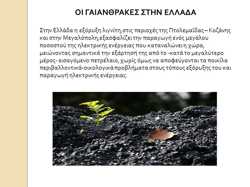 ΟΙ ΓΑΙΑΝΘΡΑΚΕΣ ΣΤΗΝ ΕΛΛΑΔΑ Στην Ελλάδα η εξόρυξη λιγνίτη, στις περιοχές της Πτολεμαΐδας – Κοζάνης και στην Μεγαλόπολη, εξασφαλίζει την παραγωγή ενός μεγάλου ποσοστού της ηλεκτρικής ενέργειας που καταναλώνει η χώρα, μειώνοντας σημαντικά την εξάρτησή της από το - κατά το μεγαλύτερο μέρος - εισαγόμενο πετρέλαιο, χωρίς όμως να αποφεύγονται τα ποικίλα περιβαλλοντικά - οικολογικά προβλήματα στους τόπους εξόρυξης του και παραγωγή ηλεκτρικής ενέργειας.