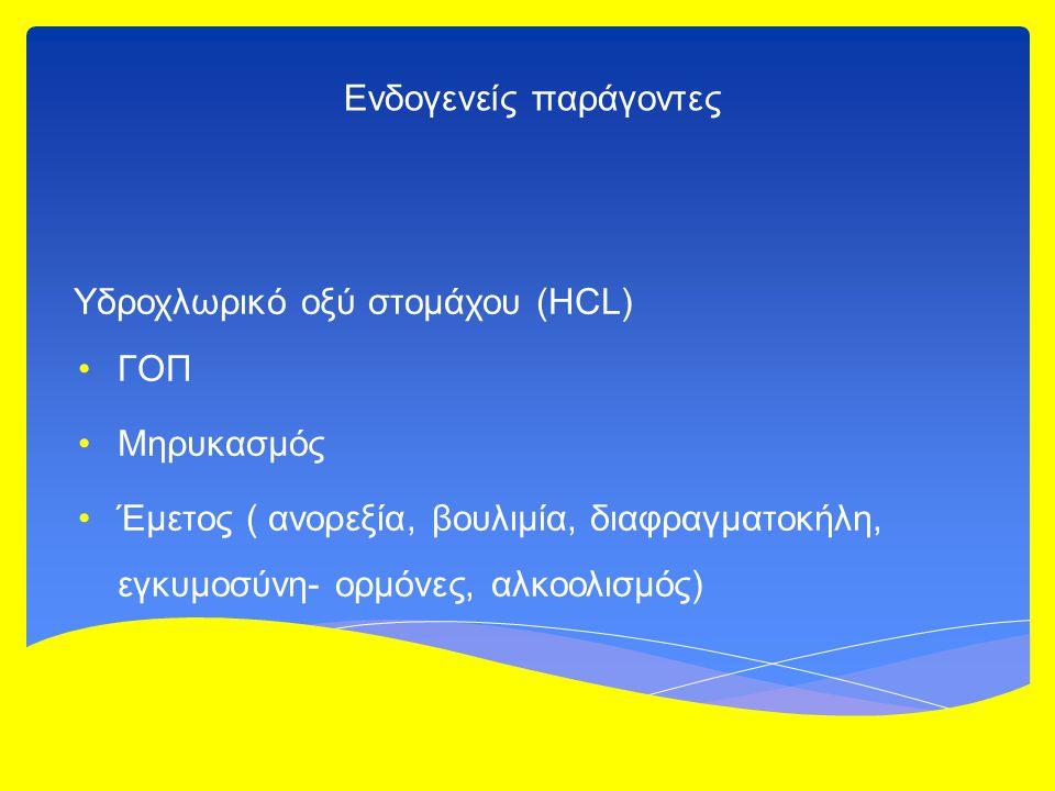 Ενδογενείς παράγοντες Υδροχλωρικό οξύ στομάχου (HCL) ΓΟΠ Μηρυκασμός Έμετος ( ανορεξία, βουλιμία, διαφραγματοκήλη, εγκυμοσύνη- ορμόνες, αλκοολισμός)