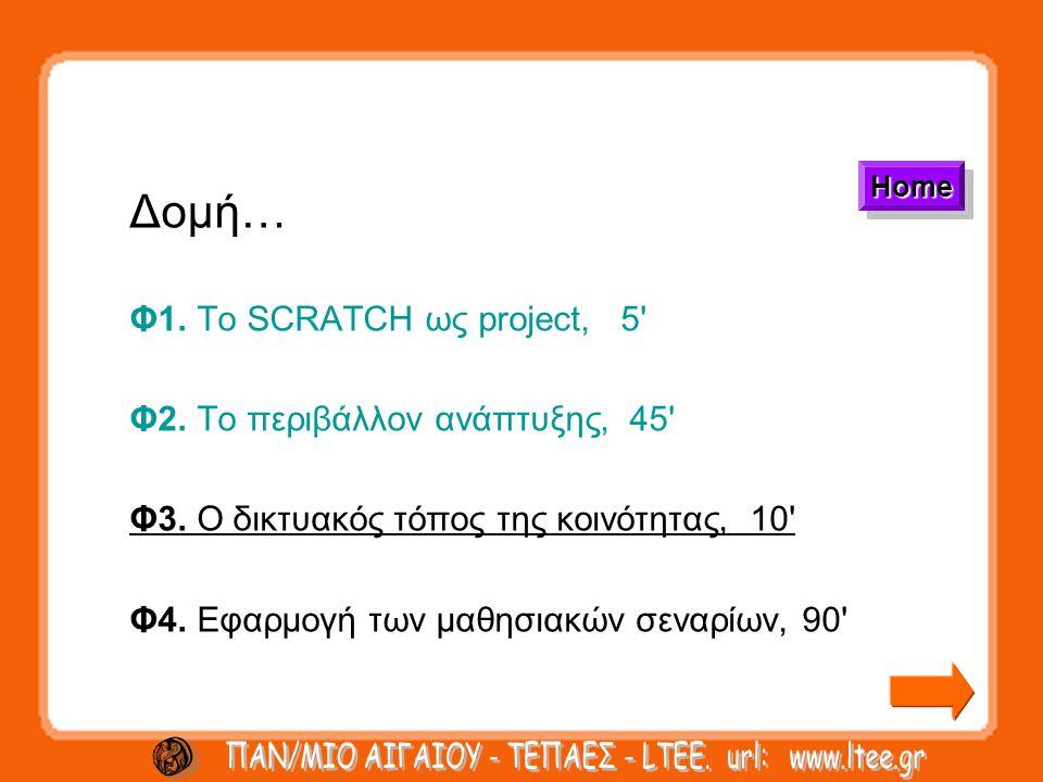 Δομή… Φ1. Το SCRATCH ως project, 5 Φ2. Το περιβάλλον ανάπτυξης, 45 Φ3.