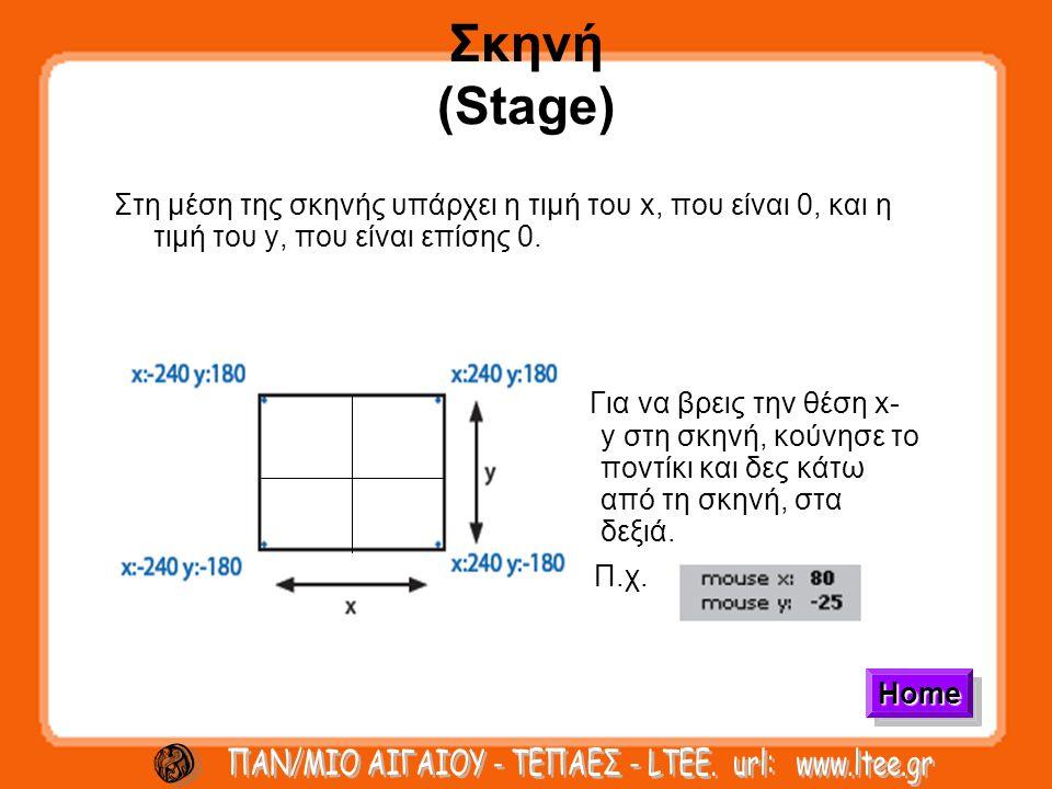 Σκηνή (Stage) Στη μέση της σκηνής υπάρχει η τιμή του x, που είναι 0, και η τιμή του y, που είναι επίσης 0.
