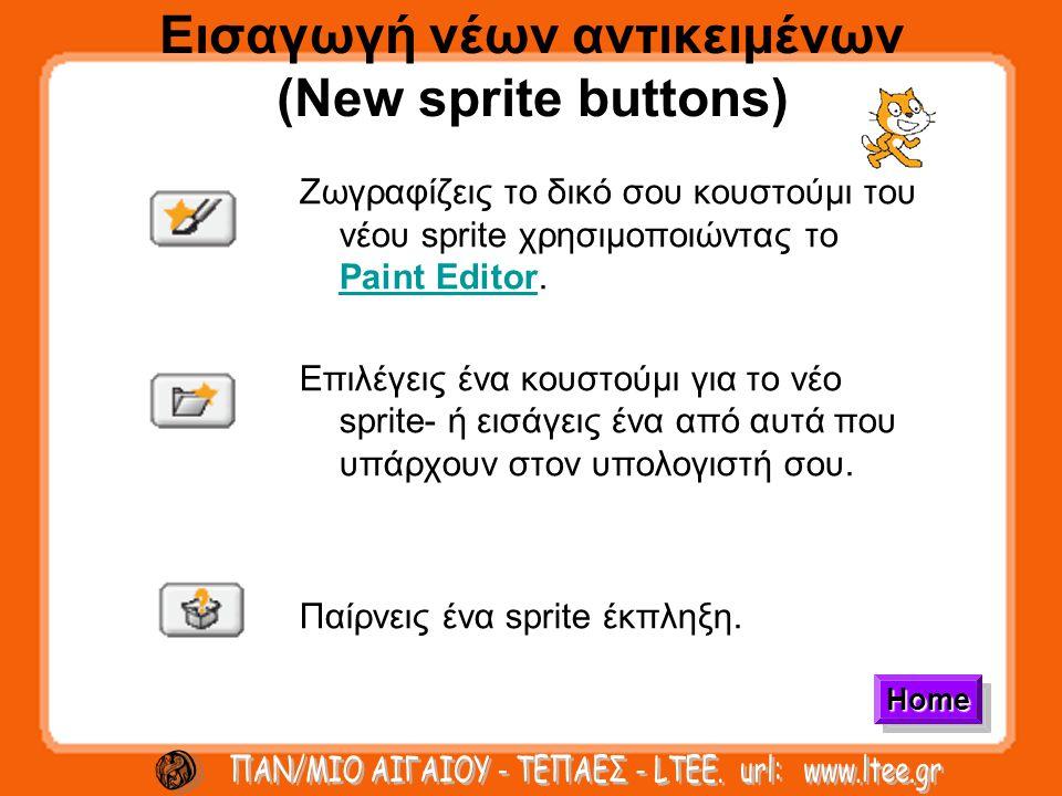 Εισαγωγή νέων αντικειμένων (New sprite buttons) Ζωγραφίζεις το δικό σου κουστούμι του νέου sprite χρησιμοποιώντας το Paint Editor.