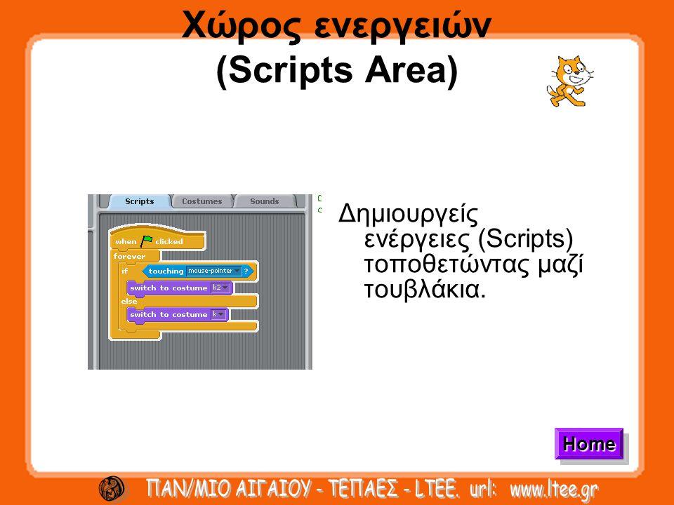 Χώρος ενεργειών (Scripts Area) Δημιουργείς ενέργειες (Scripts) τοποθετώντας μαζί τουβλάκια. Home