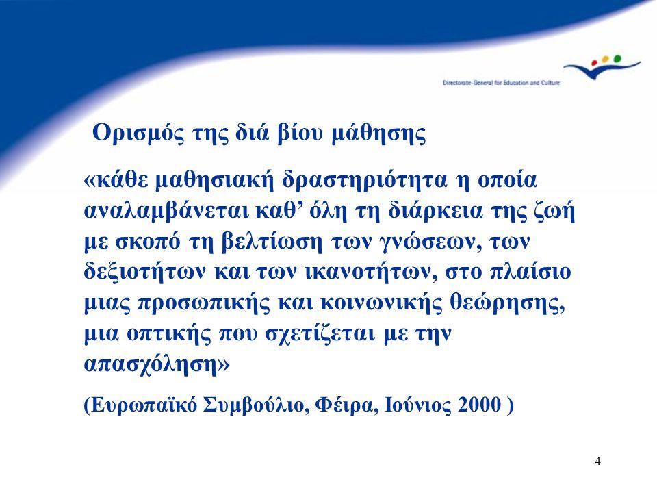 4 «κάθε μαθησιακή δραστηριότητα η οποία αναλαμβάνεται καθ' όλη τη διάρκεια της ζωή με σκοπό τη βελτίωση των γνώσεων, των δεξιοτήτων και των ικανοτήτων, στο πλαίσιο μιας προσωπικής και κοινωνικής θεώρησης, μια οπτικής που σχετίζεται με την απασχόληση» (Ευρωπαϊκό Συμβούλιο, Φέιρα, Ιούνιος 2000 ) Ορισμός της διά βίου μάθησης
