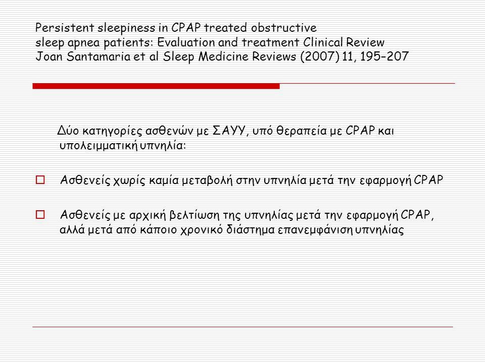 Δύο κατηγορίες ασθενών με ΣΑΥΥ, υπό θεραπεία με CPAP και υπολειμματική υπνηλία:  Ασθενείς χωρίς καμία μεταβολή στην υπνηλία μετά την εφαρμογή CPAP 
