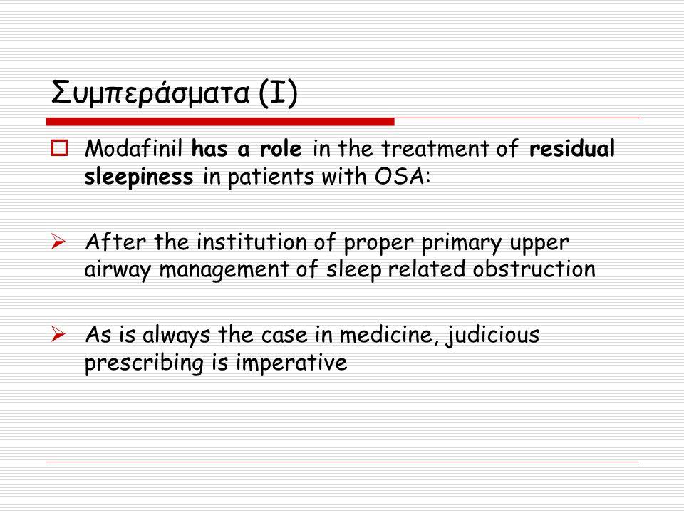 Συμπεράσματα (I)  Modafinil has a role in the treatment of residual sleepiness in patients with OSA:  After the institution of proper primary upper