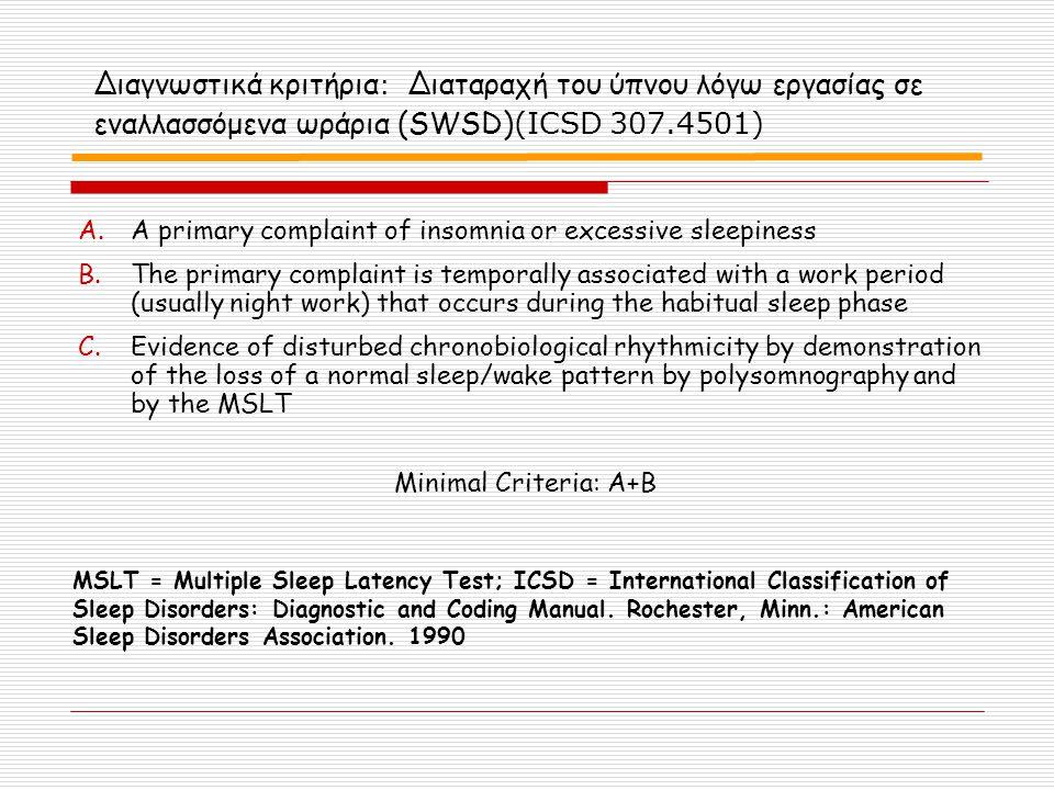 Διαγνωστικά κριτήρια : Διαταραχή του ύπνου λόγω εργασίας σε εναλλασσόμενα ωράρια (SWSD) (ICSD 307.4501) A.A primary complaint of insomnia or excessive