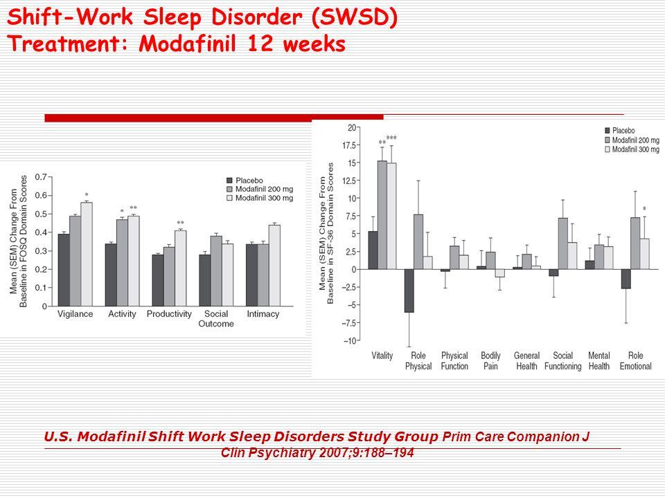 Shift-Work Sleep Disorder (SWSD) Treatment: Modafinil 12 weeks U.S. Modafinil Shift Work Sleep Disorders Study Group Prim Care Companion J Clin Psychi