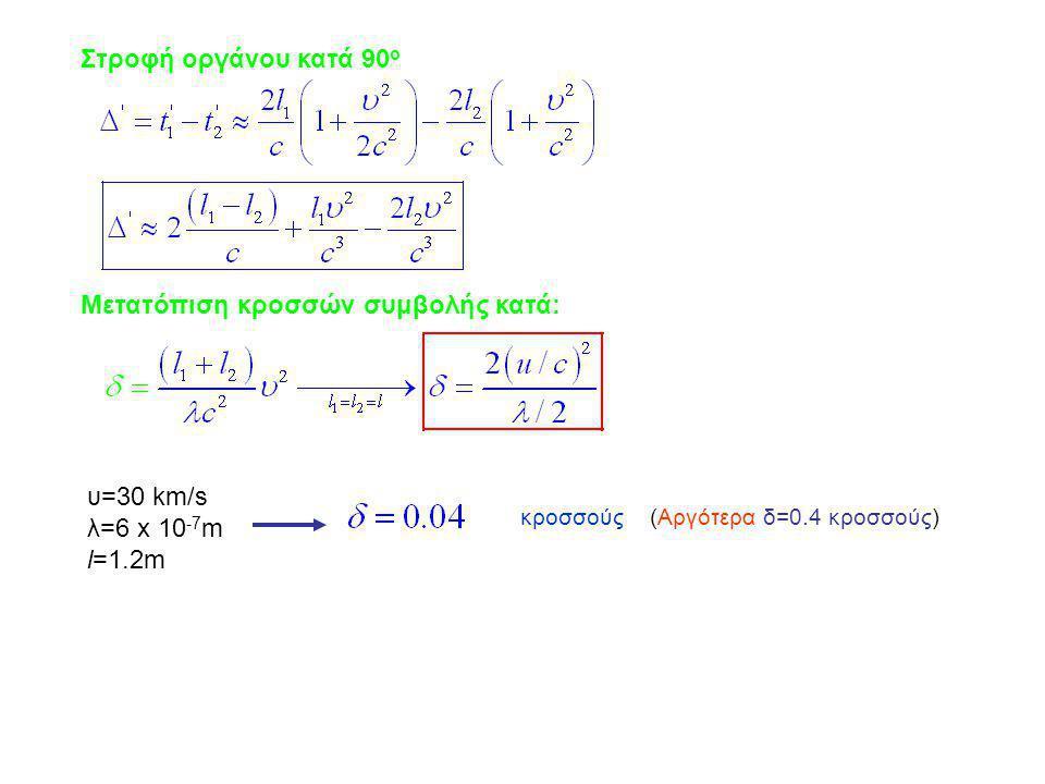 Στροφή οργάνου κατά 90 ο Μετατόπιση κροσσών συμβολής κατά: υ=30 km/s λ=6 x 10 -7 m l=1.2m κροσσούς (Αργότερα δ=0.4 κροσσούς)