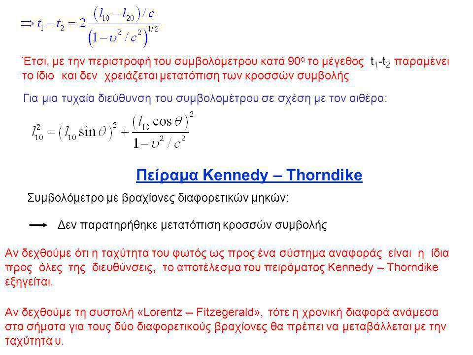 Έτσι, με την περιστροφή του συμβολόμετρου κατά 90 ο το μέγεθος t 1 -t 2 παραμένει το ίδιο και δεν χρειάζεται μετατόπιση των κροσσών συμβολής Για μια τ
