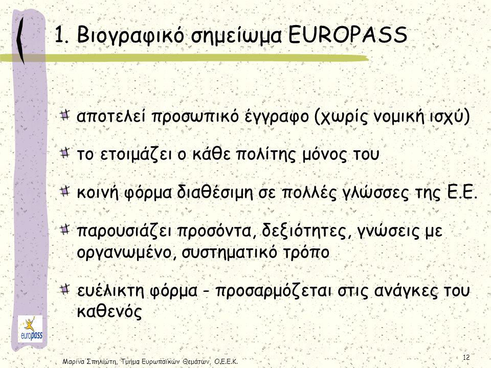 Μαρίνα Σπηλιώτη, Τμήμα Ευρωπαϊκών Θεμάτων, Ο.Ε.Ε.Κ. 12 αποτελεί προσωπικό έγγραφο (χωρίς νομική ισχύ) το ετοιμάζει ο κάθε πολίτης μόνος του κοινή φόρμ