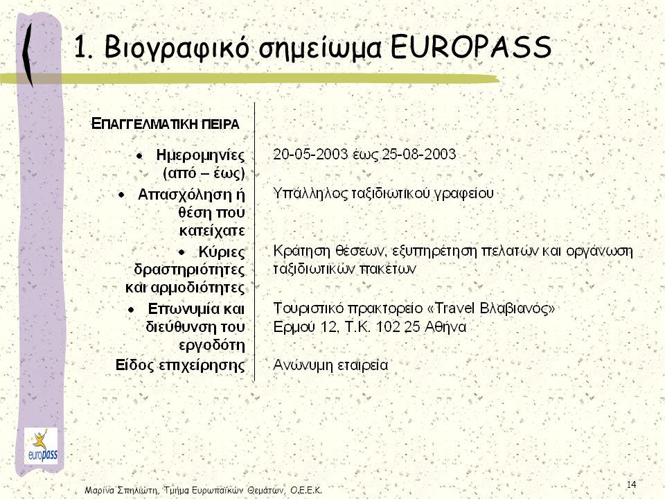 Μαρίνα Σπηλιώτη, Τμήμα Ευρωπαϊκών Θεμάτων, Ο.Ε.Ε.Κ. 14 1. Βιογραφικό σημείωμα EUROPASS