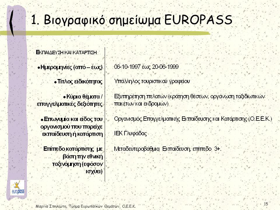 Μαρίνα Σπηλιώτη, Τμήμα Ευρωπαϊκών Θεμάτων, Ο.Ε.Ε.Κ. 15 1. Βιογραφικό σημείωμα EUROPASS