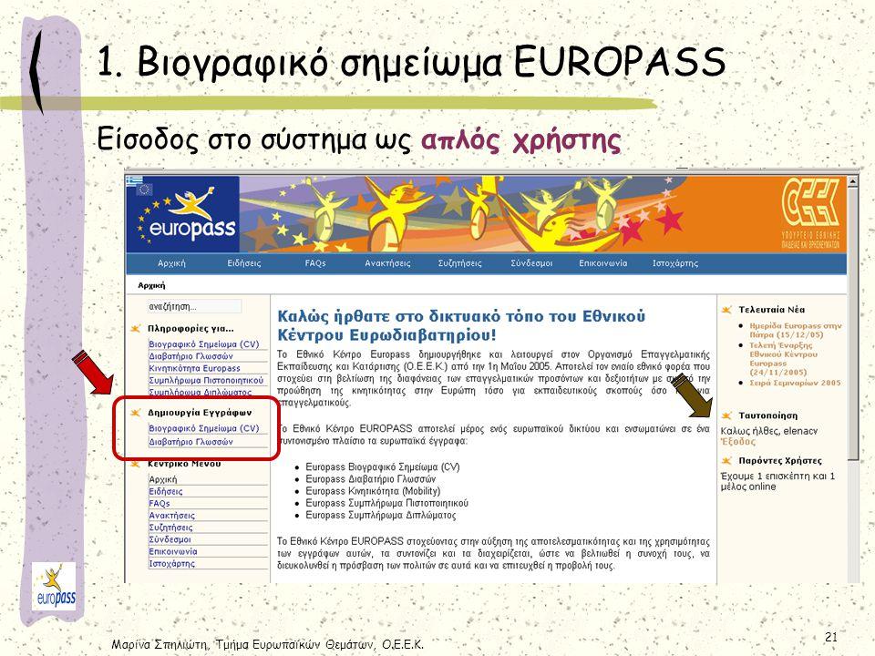 Μαρίνα Σπηλιώτη, Τμήμα Ευρωπαϊκών Θεμάτων, Ο.Ε.Ε.Κ. 21 1. Βιογραφικό σημείωμα EUROPASS Είσοδος στο σύστημα ως απλός χρήστης