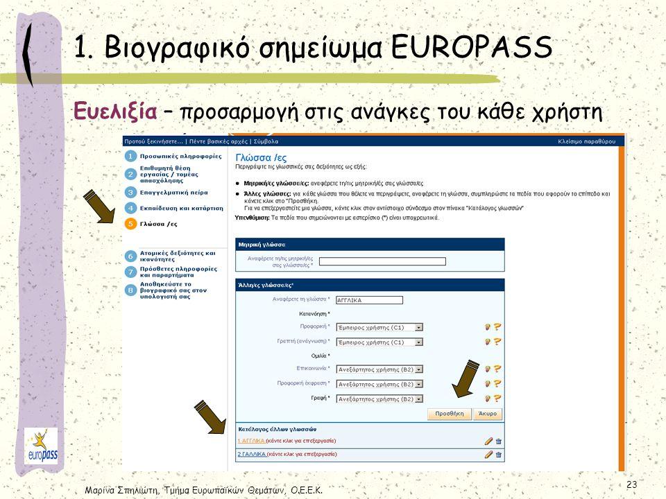 Μαρίνα Σπηλιώτη, Τμήμα Ευρωπαϊκών Θεμάτων, Ο.Ε.Ε.Κ. 23 1. Βιογραφικό σημείωμα EUROPASS Ευελιξία – προσαρμογή στις ανάγκες του κάθε χρήστη